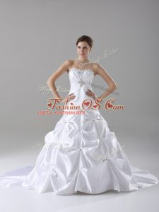 White A-line Taffeta Strapless Sleeveless Beading and Pick Ups Lace Up Wedding Gown Brush Train