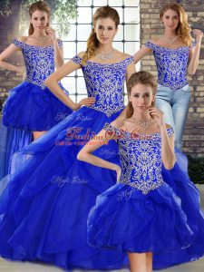 Sexy Royal Blue Sleeveless Tulle Brush Train Lace Up Vestidos de Quinceanera for Military Ball and Sweet 16 and Quinceanera