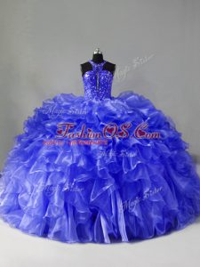 Modest Organza Sleeveless Quince Ball Gowns Brush Train and Beading and Ruffles