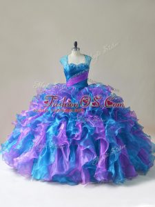 Top Selling Multi-color Straps Neckline Beading and Ruffles Quinceanera Dresses Sleeveless Zipper