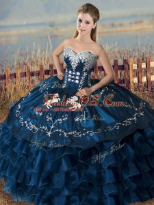 Trendy Navy Blue Quinceanera Dress Sweet 16 and Quinceanera with Embroidery and Ruffles Sweetheart Sleeveless Lace Up