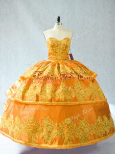 Captivating Gold Ball Gowns Organza Sweetheart Sleeveless Embroidery and Ruffled Layers Floor Length Lace Up Sweet 16 Dress