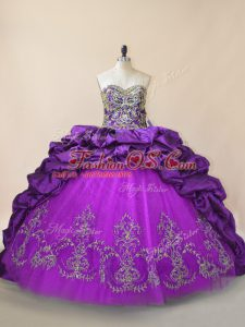 Fashionable Purple Ball Gowns Sweetheart Sleeveless Taffeta and Tulle Brush Train Lace Up Beading and Pick Ups Ball Gown Prom Dress