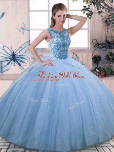 Chic Ball Gowns Sweet 16 Dress Blue Scoop Tulle Sleeveless Floor Length Lace Up