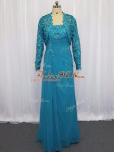 Adorable Blue Column/Sheath Chiffon Strapless Sleeveless Lace and Appliques Floor Length Zipper Mother Of The Bride Dress