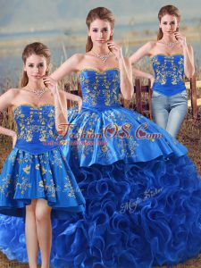 Luxurious Sleeveless Fabric With Rolling Flowers Floor Length Lace Up Quinceanera Gowns in Royal Blue with Embroidery and Ruffles