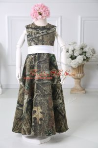 Colorful Multi-color Zipper Flower Girl Dresses Belt Sleeveless Floor Length