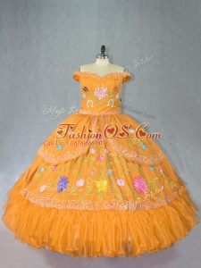 Floor Length Gold Sweet 16 Quinceanera Dress Off The Shoulder Sleeveless Lace Up