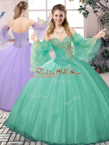 Apple Green Sleeveless Tulle Lace Up Sweet 16 Dress for Sweet 16 and Quinceanera