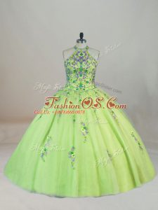 Attractive Ball Gowns Sleeveless Yellow Green Sweet 16 Quinceanera Dress Brush Train Lace Up