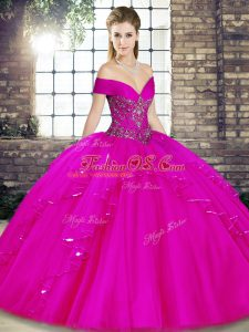 Beading and Ruffles Ball Gown Prom Dress Fuchsia Lace Up Sleeveless Floor Length