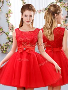 Mini Length Lace Up Bridesmaid Dresses Red for Wedding Party with Lace and Bowknot