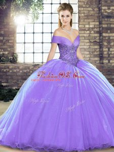 Fantastic Beading Quinceanera Gown Lavender Lace Up Sleeveless Brush Train