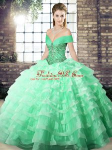 Fantastic Sleeveless Beading and Ruffled Layers Lace Up Quinceanera Gown with Apple Green Brush Train