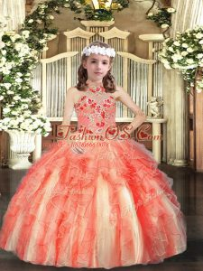 Dramatic Tulle Sleeveless Floor Length Little Girl Pageant Dress and Appliques and Ruffles