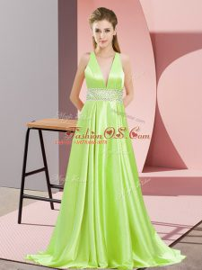Yellow Green Elastic Woven Satin Backless V-neck Sleeveless Prom Dress Brush Train Beading