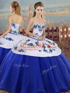 Extravagant Royal Blue Tulle Lace Up Sweetheart Sleeveless Floor Length Sweet 16 Dress Embroidery