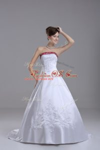 Glorious White Satin Lace Up Strapless Sleeveless Wedding Dress Brush Train Beading and Embroidery