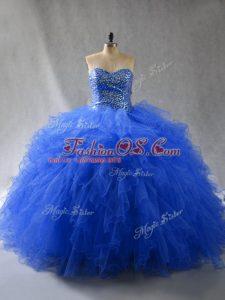 Elegant Royal Blue Lace Up Sweet 16 Dresses Beading and Ruffles Sleeveless Floor Length