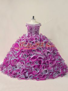 Sweet Brush Train Ball Gowns Sweet 16 Quinceanera Dress Multi-color Off The Shoulder Organza Sleeveless Lace Up