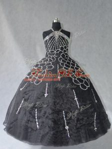 Delicate Halter Top Sleeveless Lace Up Quinceanera Gowns Black Organza