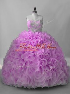 Perfect Sweetheart Sleeveless Fabric With Rolling Flowers Quinceanera Gown Beading Brush Train Lace Up