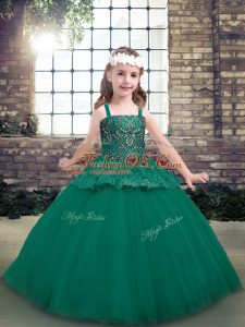 Affordable Sleeveless Floor Length Beading Lace Up Little Girls Pageant Dress Wholesale with Green