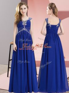Custom Fit Sleeveless Chiffon Floor Length Lace Up Prom Evening Gown in Royal Blue with Beading