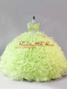 Yellow Green Ball Gowns Beading and Ruffles 15th Birthday Dress Zipper Fabric With Rolling Flowers Sleeveless Floor Length