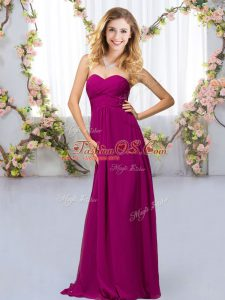 Beading Quinceanera Court of Honor Dress Fuchsia Criss Cross Sleeveless Floor Length