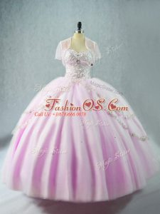 Attractive Lilac Lace Up Sweetheart Beading Quince Ball Gowns Tulle Sleeveless