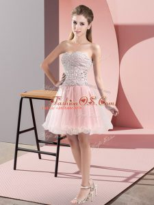 Spectacular Pink Zipper Homecoming Dress Beading Sleeveless Mini Length