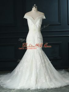 Attractive White Zipper Off The Shoulder Beading and Lace Wedding Dresses Organza Sleeveless Court Train