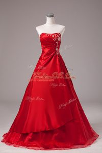 Sleeveless Organza Floor Length Lace Up Ball Gown Prom Dress in Wine Red with Beading and Embroidery