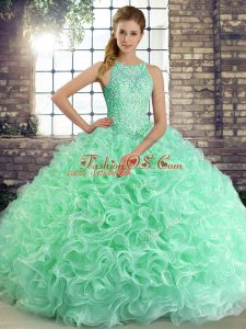 Sumptuous Scoop Sleeveless Lace Up Vestidos de Quinceanera Apple Green Fabric With Rolling Flowers