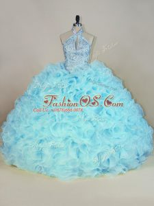 Classical Aqua Blue Ball Gowns Halter Top Sleeveless Fabric With Rolling Flowers Brush Train Lace Up Beading and Ruffles Quince Ball Gowns