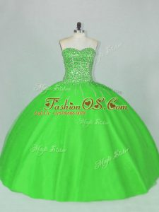 Customized Sweetheart Sleeveless Quinceanera Dresses Floor Length Beading Green Tulle