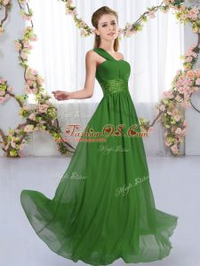 Sweet Green Empire One Shoulder Sleeveless Chiffon Floor Length Lace Up Ruching Dama Dress for Quinceanera