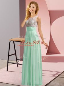 Apple Green Chiffon Side Zipper Dama Dress Sleeveless Floor Length Beading