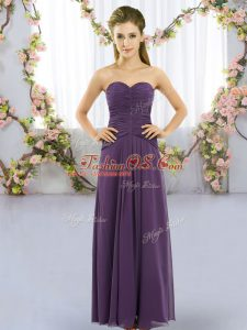 Fine Purple Empire Chiffon Sweetheart Sleeveless Ruching Floor Length Lace Up Quinceanera Dama Dress