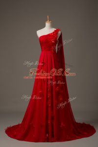 Elegant Red Sleeveless Watteau Train Hand Made Flower Prom Dresses