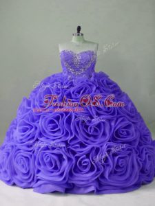 Affordable Lavender Lace Up Sweet 16 Dresses Beading Sleeveless Brush Train