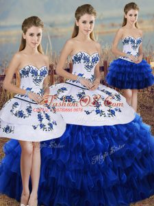 Sweet Royal Blue Organza Lace Up Sweetheart Sleeveless Floor Length Sweet 16 Quinceanera Dress Embroidery and Ruffled Layers and Bowknot