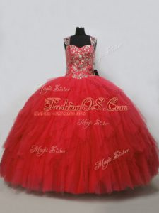 Suitable Floor Length Lace Up Sweet 16 Dress Red for Sweet 16 and Quinceanera with Beading and Ruffles