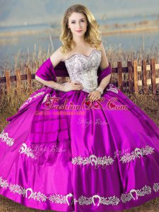 Floor Length Lace Up Quinceanera Gown Purple for Sweet 16 and Quinceanera with Embroidery