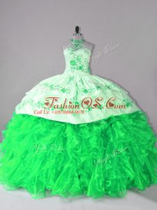 Lace Up Quinceanera Gowns for Sweet 16 and Quinceanera with Embroidery and Ruffles Court Train