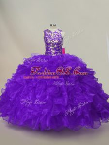 Super Sleeveless Floor Length Ruffles and Sequins Lace Up 15 Quinceanera Dress with Purple