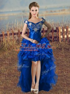 Ideal Royal Blue Organza Lace Up Off The Shoulder Sleeveless High Low Prom Dresses Embroidery and Ruffles