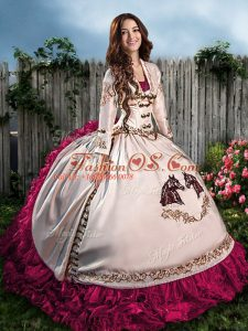 Hot Pink Ball Gowns Embroidery and Ruffles 15 Quinceanera Dress Lace Up Satin Sleeveless Floor Length