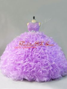 High Quality Sleeveless Floor Length Beading and Ruffles Zipper Quinceanera Dresses with Lavender